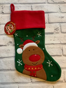 Christmas Green Fleece Stocking with Rudolf the Red Nose Reindeer