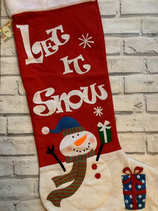 Christmas Red Let It Snow Extra Large Felt Stocking
