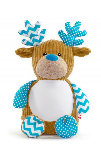 Cubbies Blue Harlequin Christmas Reindeer
