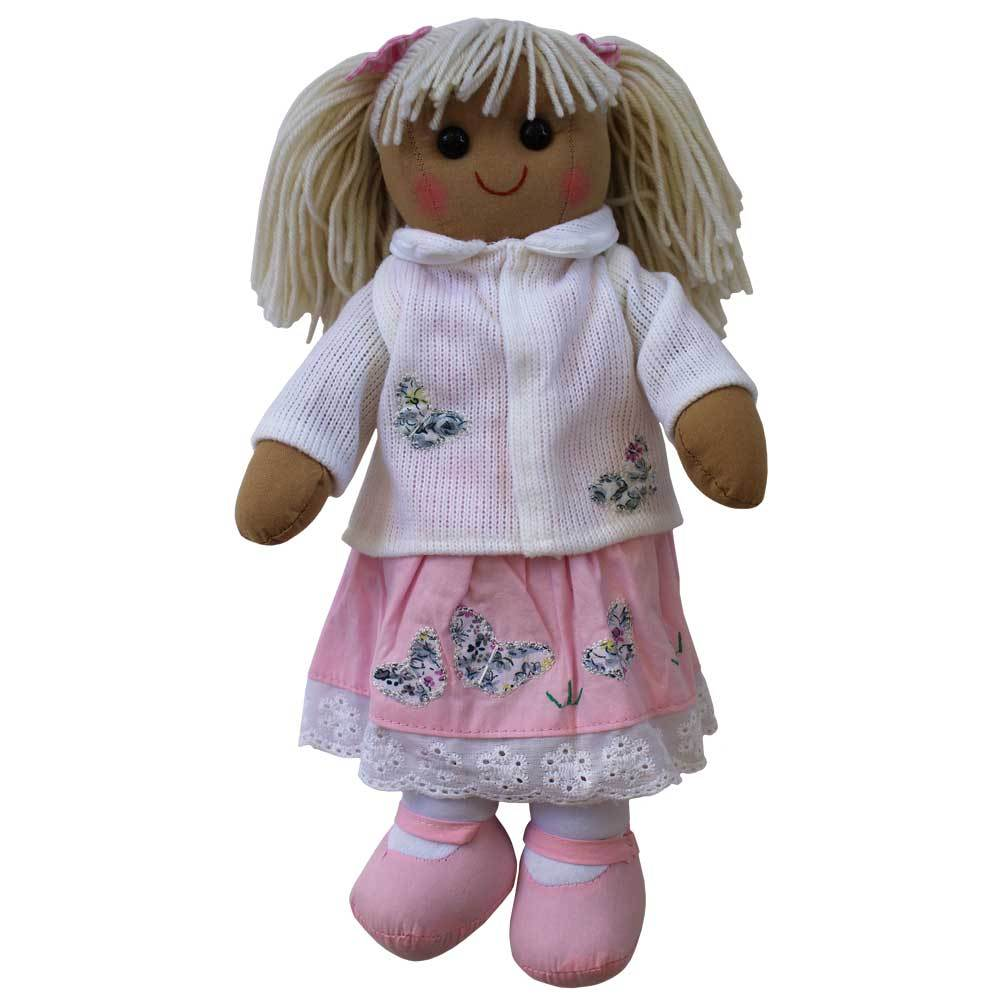 Pink Butterfly Dress and White Cardigan 40cm Rag-doll