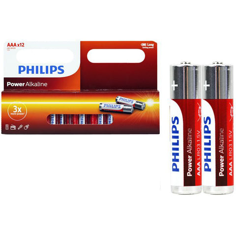 12PCS GENUINE PHILIPS LONG LIFE ALKALINE AAA BATTERY FACTORY SEALED BULK LOT