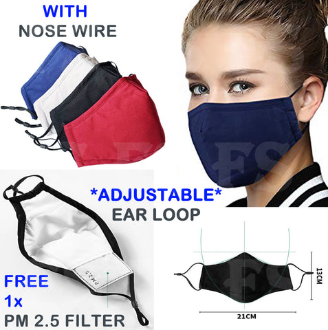 COTTON MASK WASHABLE FACE MASK ANTI POLLUTION REUSABLE RESPIRATOR PM 2.5 FILTER