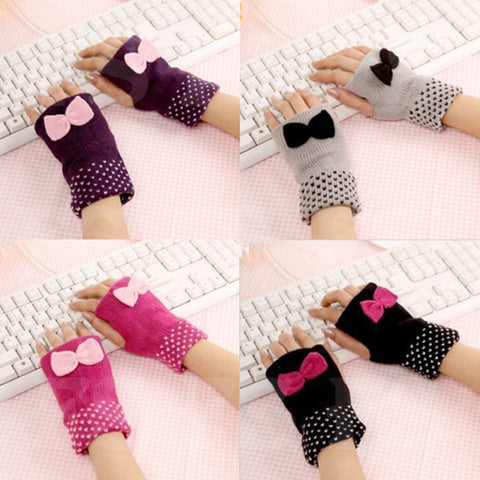 BOWKNOT WINTER GLOVES FOR WOMEN WITH FASHION