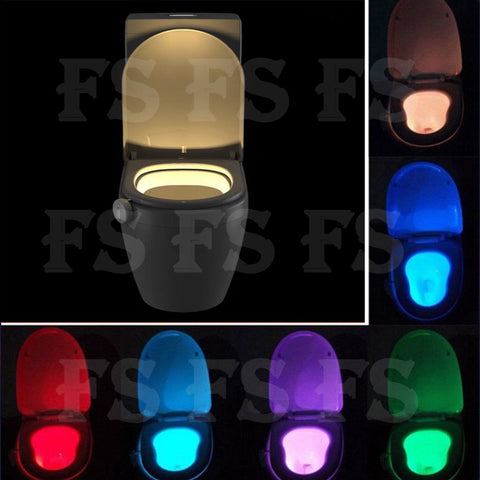 8 COLOR LED TOILET BATHROOM NIGHT LIGHT MOTION ACTIVATED SEAT SENSOR WATERPROOF