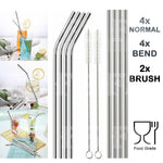8 STAINLESS STEEL STRAWS REUSABLE + 2 BRUSHES METAL DRINKING STRAW SET