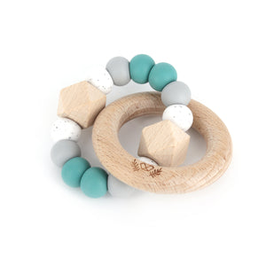lluie hexx teething rattle duck egg blue