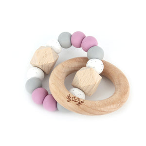 lluie hexx teething rattle dusty mauve