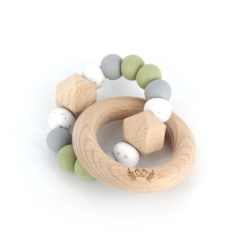lluie hexx teething rattle sage - Chalk