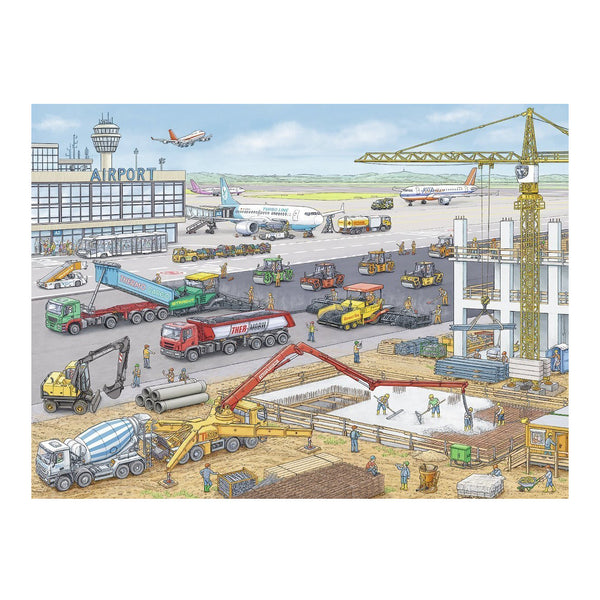 ravensburger puzzle construction at the airport