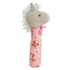 Alimrose Squeaker Horse Pink Floral Wreath