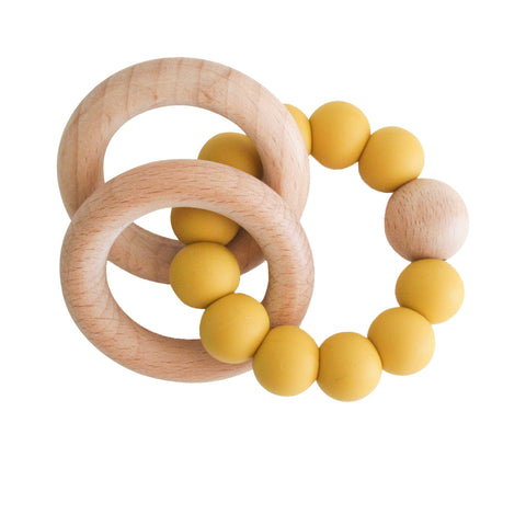 alimrose beechwood teether ring butterscotch - Chalk