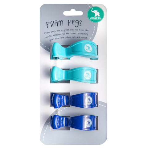 all4ella pram pegs 4 pack blue navy - Chalk