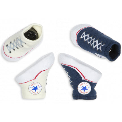 converse infant booties navy - Chalk