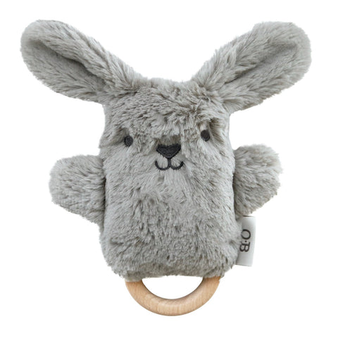 ob designs dingaring teething rattle bodhi bunny - Chalk
