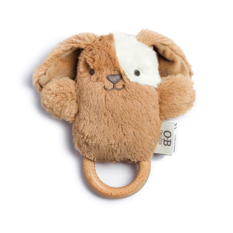 ob designs dingaring teething rattle duke dog - Chalk