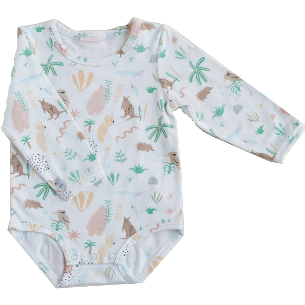 Halcyon Nights Long Sleeve Bodysuit Outback Dreamers - Chalk Melbourne