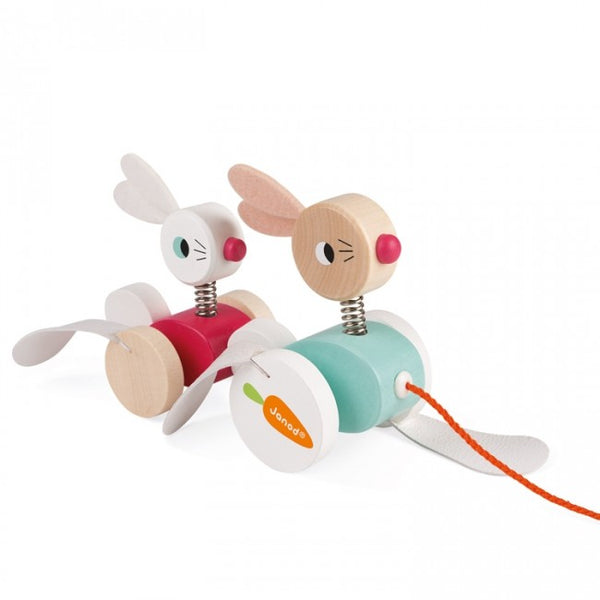 janod pull along rabbits - Chalk