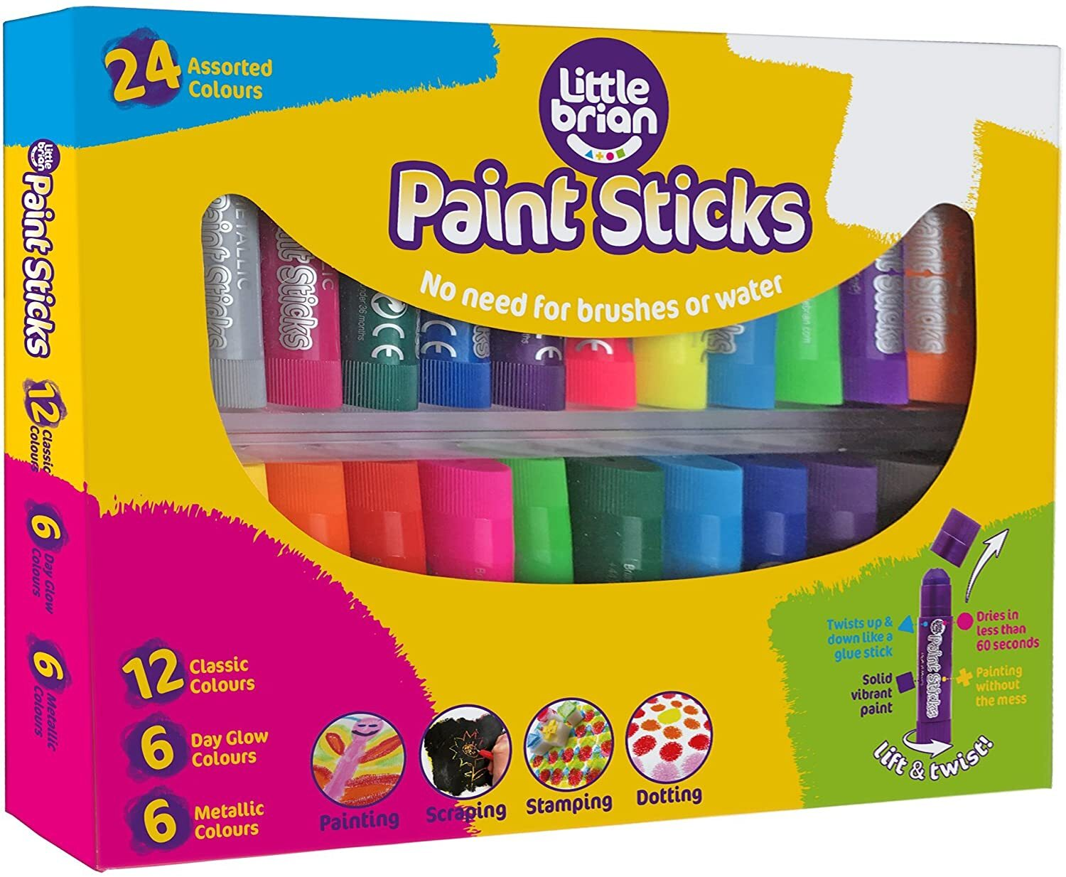 Little Brian Paint Sticks Assorted 24Pk