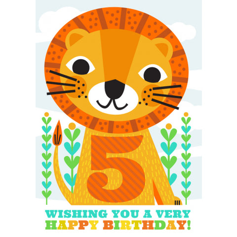 Little Red Owl Card Birthday 5th Lion