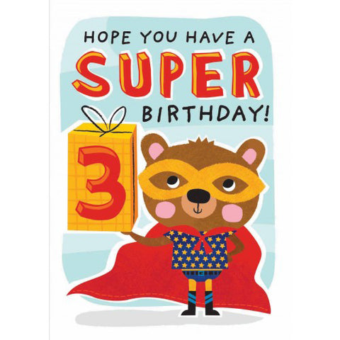Little Red Owl Card Birthday 3rd Super Bear