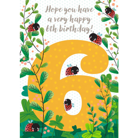 Little Red Owl Card Birthday 6th Ladybug