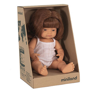 miniland doll 38cm caucasian red head girl