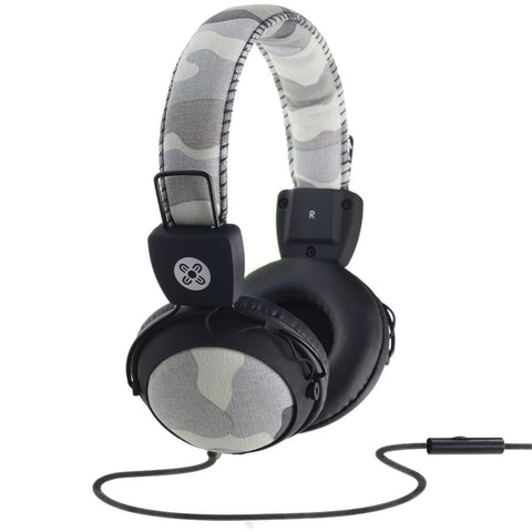 moki in-line mic headphones camo grey - Chalk
