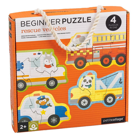 petit collage beginner puzzle rescue vehicles - Chalk