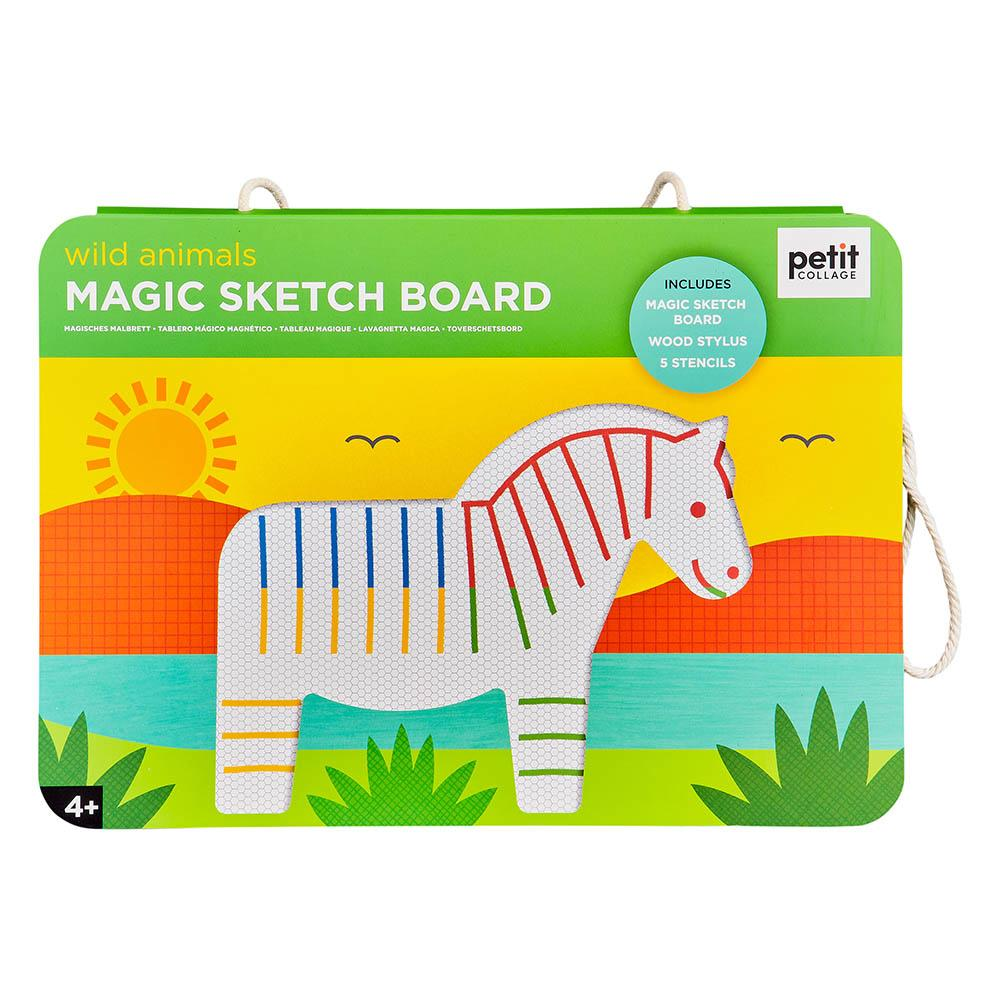 petit collage magic sketch and stencil wild animals - Chalk