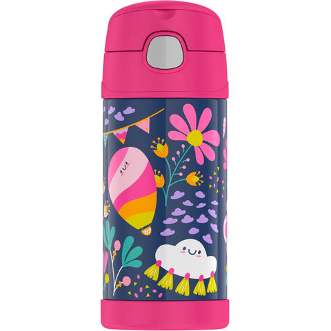 thermos 355ml insulated bottle whimsical clouds - Chalk