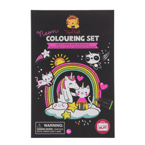 tiger tribe colouring set neon unicorns and friends - Chalk
