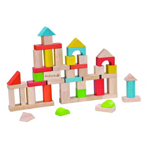 Everearth Building Blocks 50 Piece With Shape Sorter - Chalk