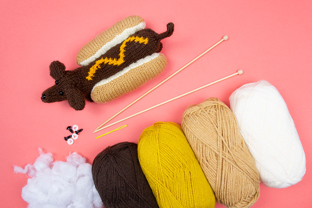 Hot Dog Dog Knitting Kit - Project 8 from First Time Knits (5389545406621)