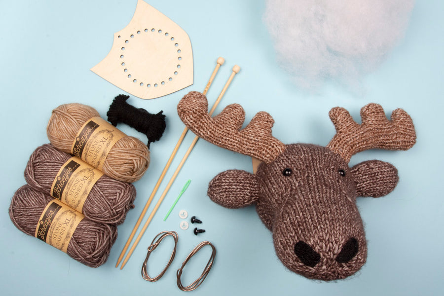 Mini Moose Head Knitting Kit (5889295450269)