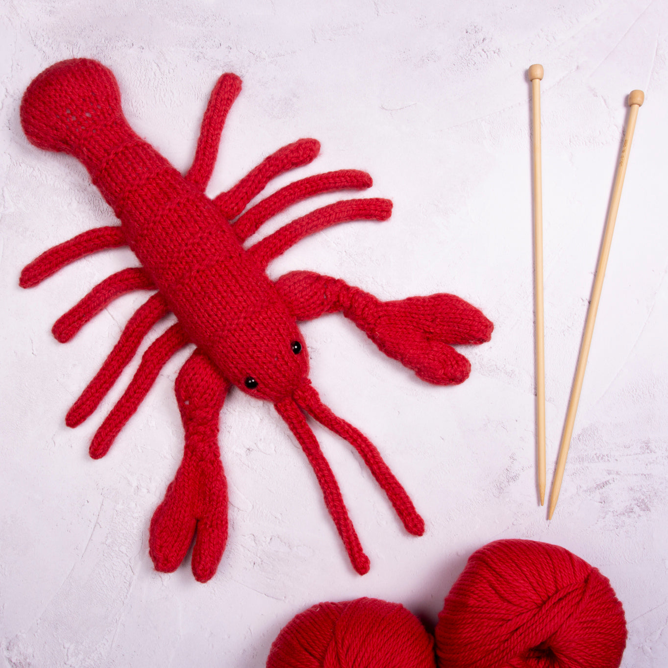 Lobster Knitting Kit - Red or Blue