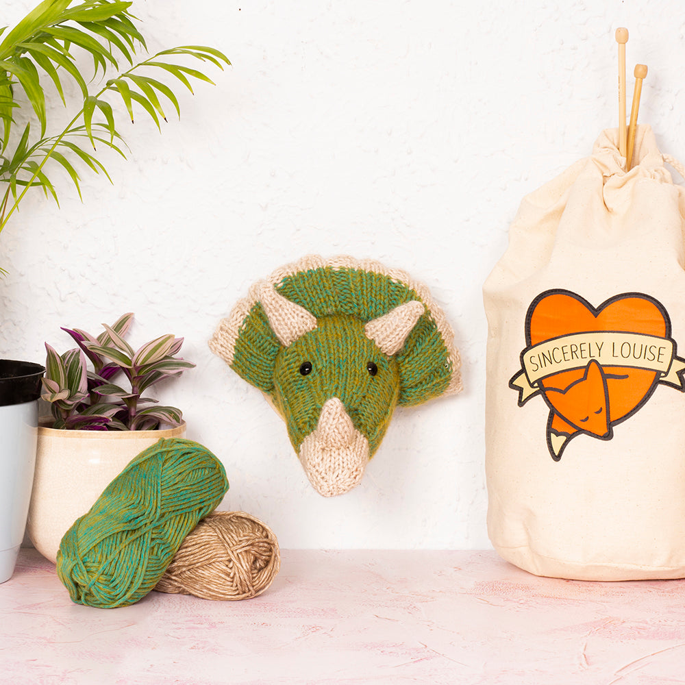 Mini Triceratops Head Knitting Kit