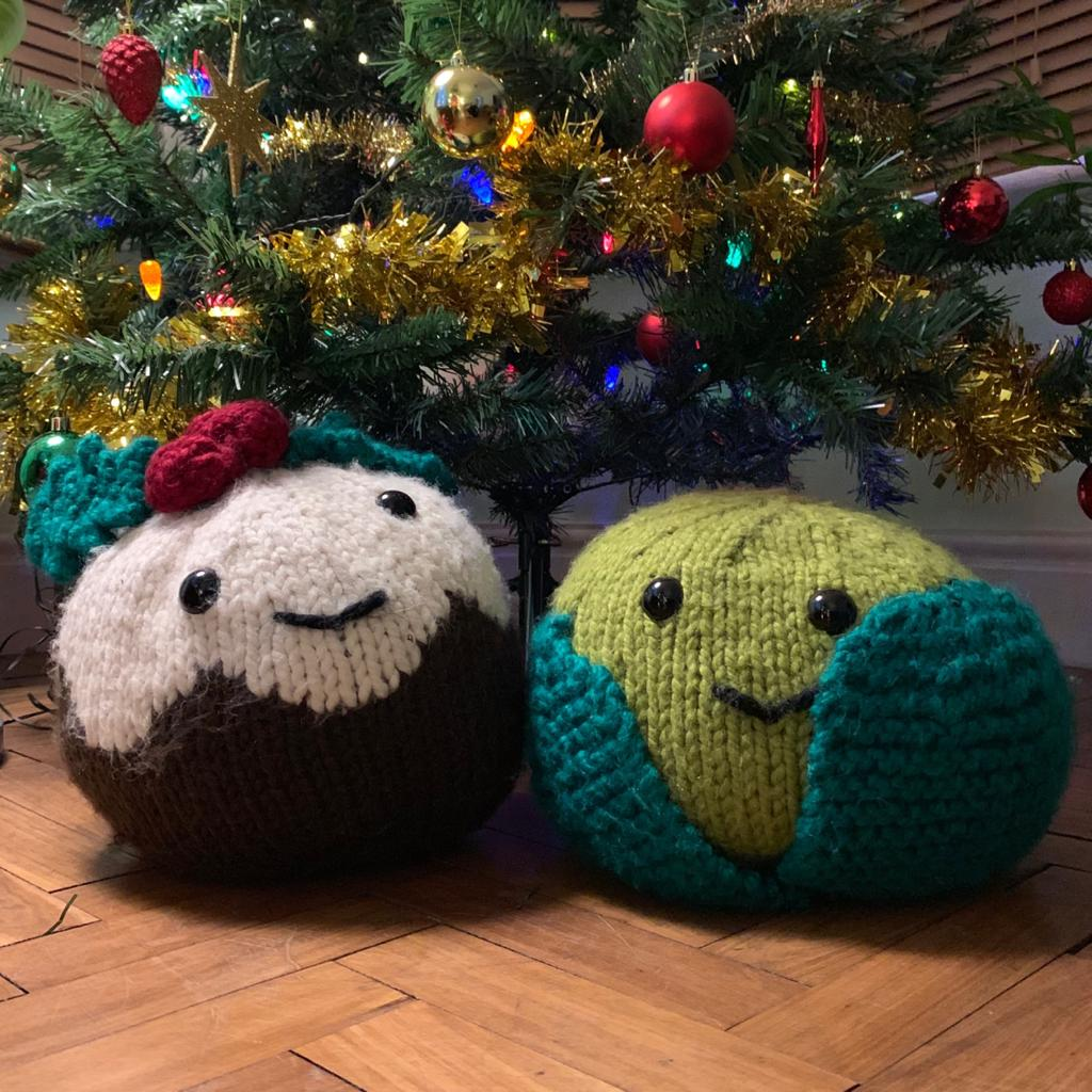 Giant Christmas Pudding and Sprout Knitting Kits (4641589690500)