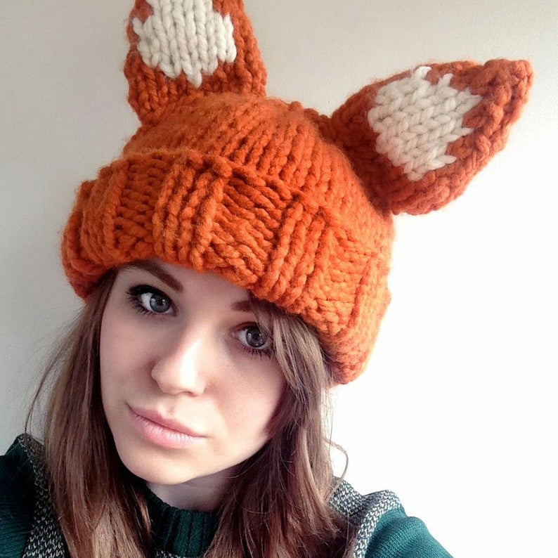 Fox Hat Knitting Kit (4640816857220)