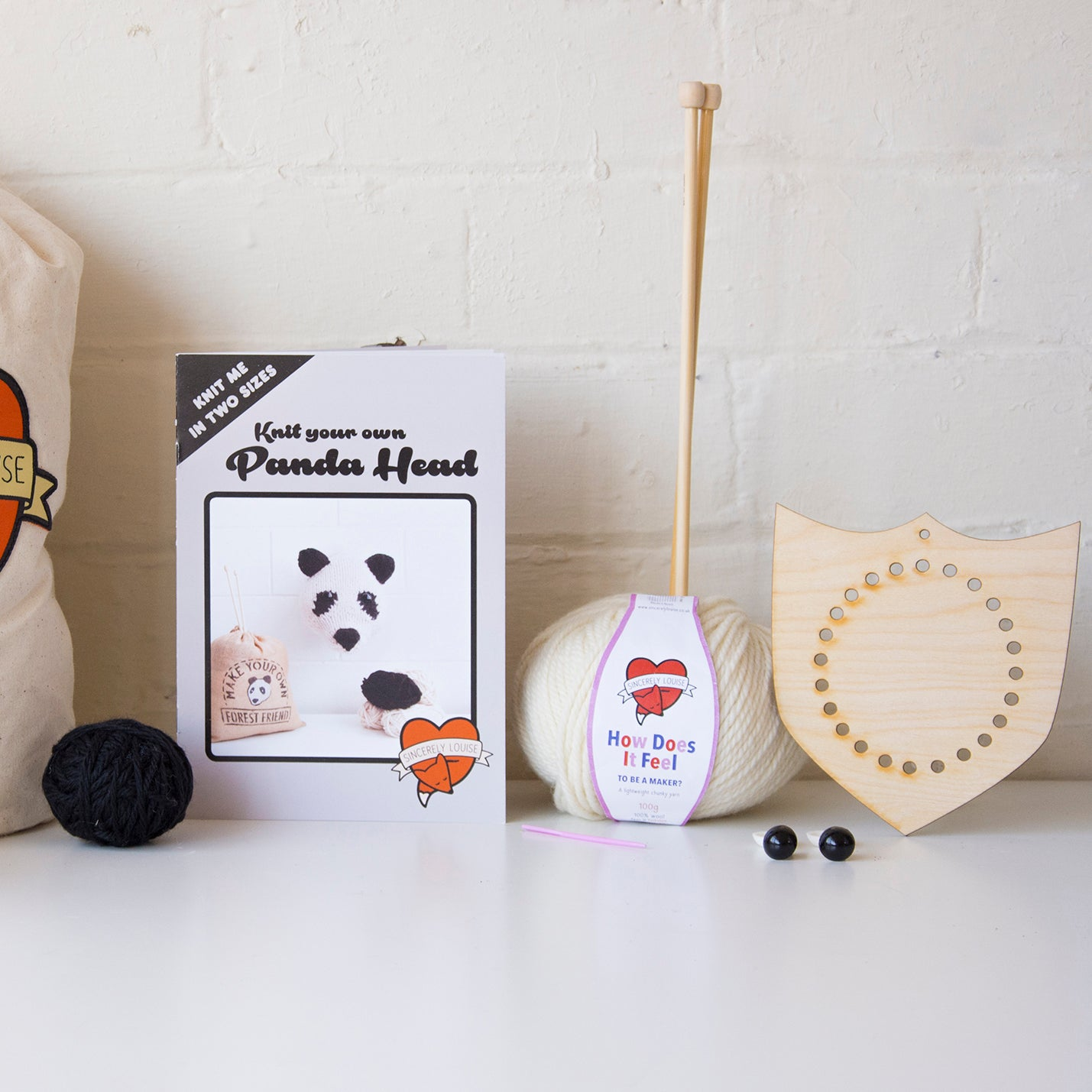 Mini Panda Head Knitting Kit (4594246484100)