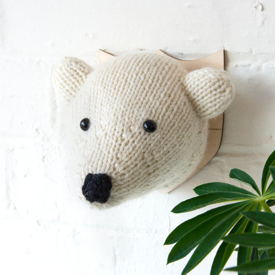 Mini Polar Bear Head Knitting Kit (4579028041860)