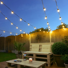 Load image into Gallery viewer, 10 Connectable Warm White Festoon Lights, Clear Bulbs, Black Cable - 2.jpg