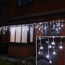 Load image into Gallery viewer, ConnectPro Outdoor LED Icicle Lights, Connectable, White Rubber Cable