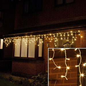 ConnectPro Outdoor LED Icicle Lights, Connectable, White Rubber Cable