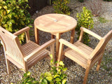 Teak 2 Seater 70cm Round Bistro Table Set