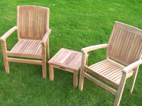 2 Seater Teak Armchair and Coffee Table Set