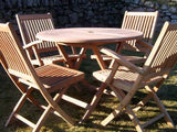 4 Seater 1m Round Folding Teak Set with Folding Chairs & Armchairs