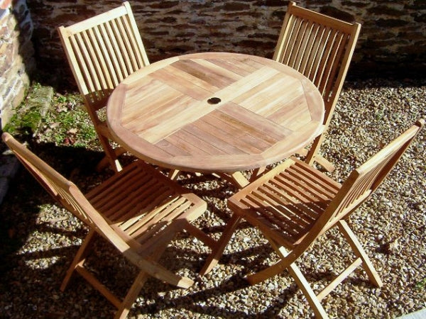 4 Seater 1m Round Folding Teak Set with Folding Chairs