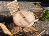 4 Seater 80cm Round Folding Teak Set with Folding Chairs
