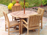 4 Seater 1.2m Round Gate-leg Teak Set with Dining Chairs & Stacking Armchairs