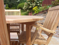 4 Seater 1.2m Round Pedestal Teak Set with Folding Chairs & Armchairs